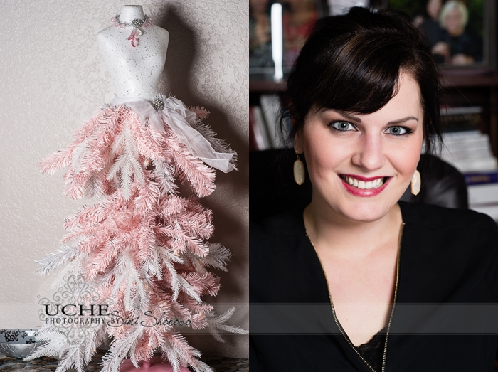 04_mannequin Christmas tree with pink and white foliage at A.Cherie couture studio. Ashley Cherie Pugh in A.Cherie Couture studio at her desk