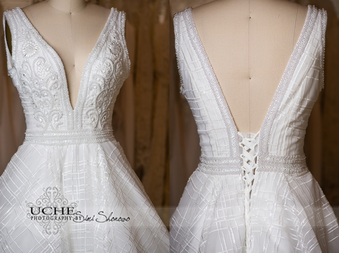 13_ballgown addition to A.Cherie couture custom wedding dress samples showing the front and back of the bodice