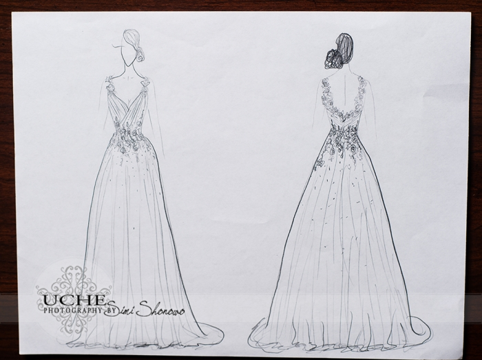 14_A.Cherie couture custom aline wedding dress drawing showing the front and the back of the dress