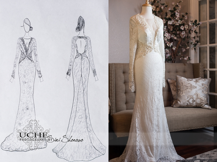 20_A.Cherie couture custom mermaid wedding dress with long sleeves drawing showing the front and the back of the dress beside a photo of the front of the dress