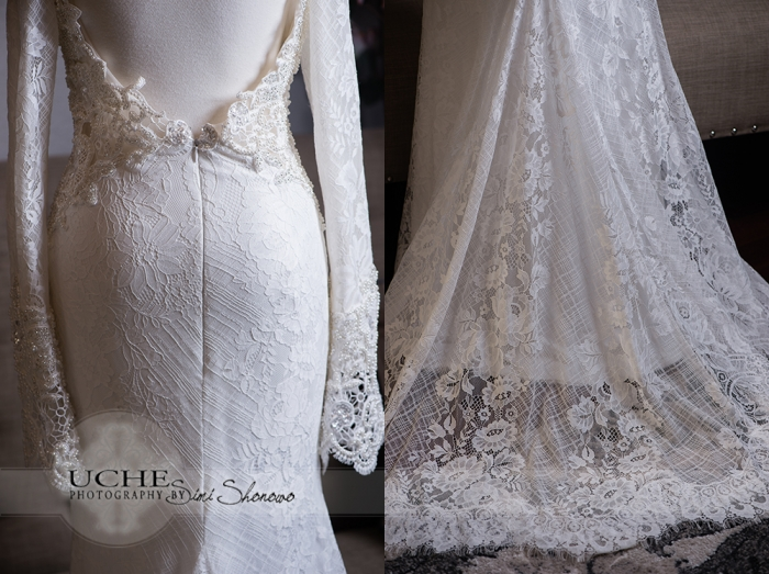 24_A.Cherie couture custom mermaid wedding dress showing the back waist and train details on the dress