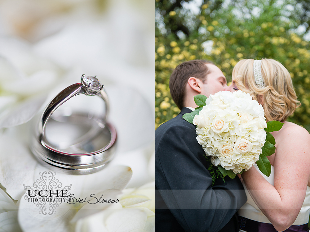 ring details and kissing behind the bouquet