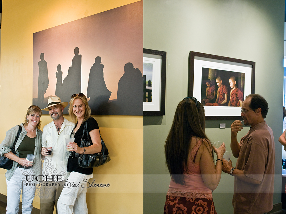 three pose by the silhouette canvas; conversation over another monk piece