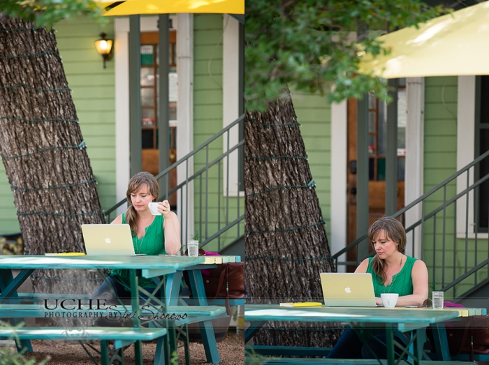 05_tsh drinking coffee under the umbrella at the table outside Sweet Lemon Kitchen Georgetown Texas