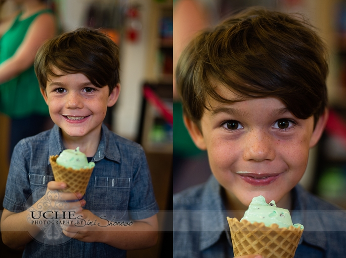 15_finns delighted faces at the delicious ice cream at All Things Kids Georgetown Texas