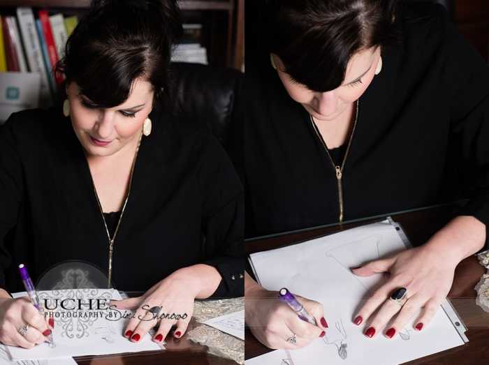 06_Ashley's new custom wedding dress design takes shape as she draws it at her desk in A.Cherie couture studio