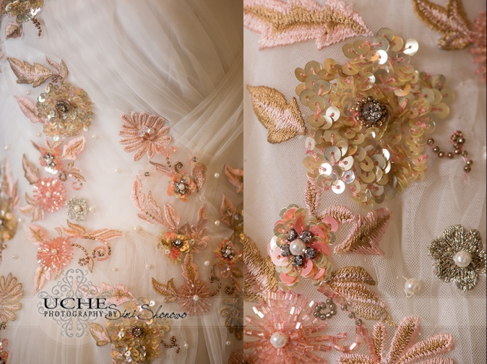 17_A.Cherie couture custom aline wedding dress photos showing the details of the dress around the rouching and even closer in to see the individual stitching and bead work
