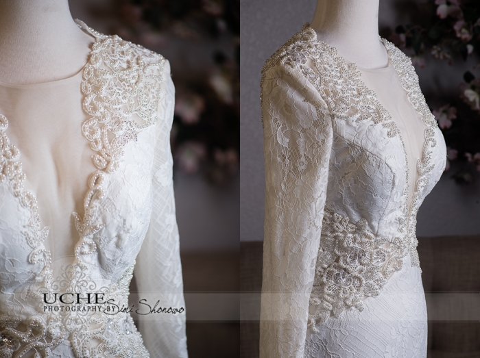 23_A.Cherie couture custom mermaid wedding dress showing the front and front-side beading and details on the dress